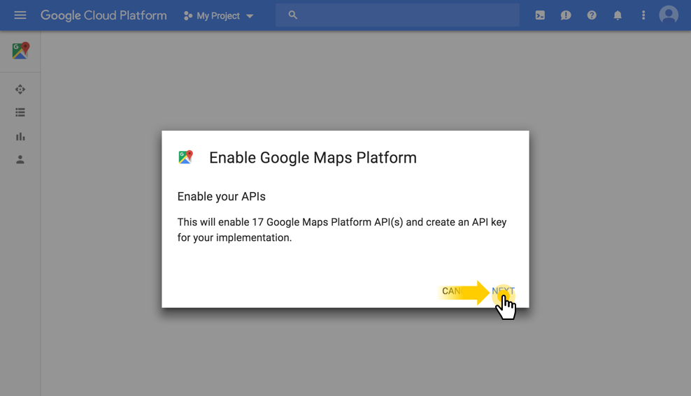 Enable Google Maps Platform API's